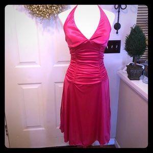 Ruby Rox Hot Pink Tulle Ruffle Slink Dress